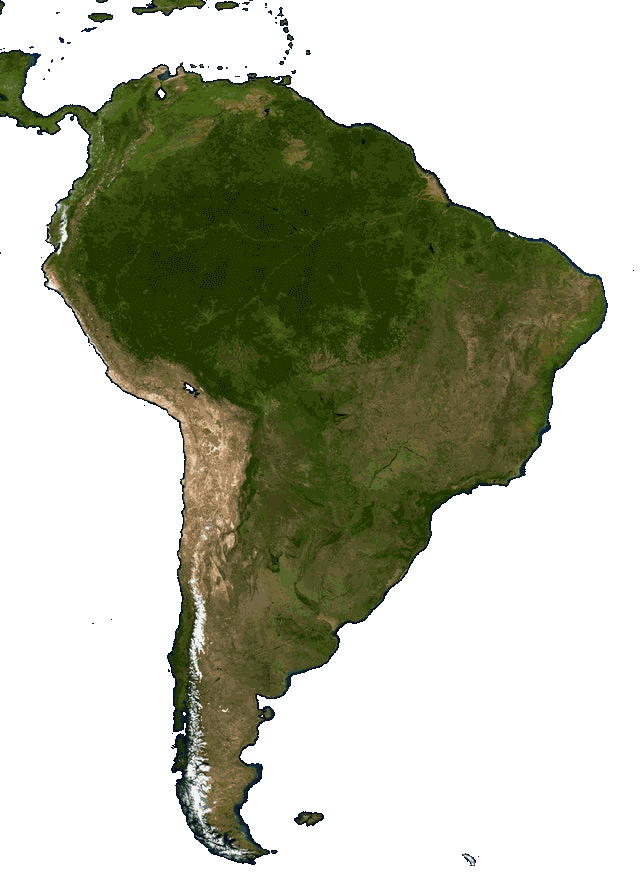 This example makes a satellite JPG photo of South America transparent by deleting the water around the continent. The water is primarily dark blue (color #000032) but because of all the light absorption and scattering there are many other wavelengths of blue and violet, so to make sure we delete all the water, we also match 5% similar colors.