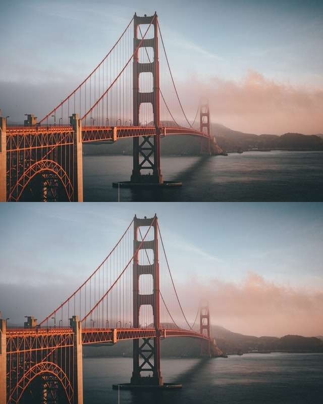 This example creates two vertical copies of a JPG photo of the Golden Gate Bridge in San Francisco.
