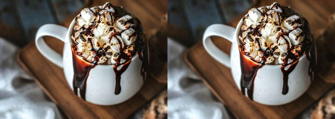 In this example we make two horizontal copies of a JPEG picture of coffee with marshmallows.