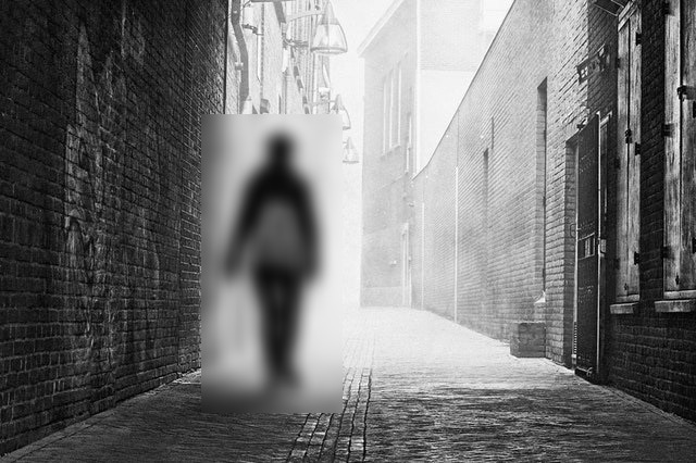 This example blurs a rectangle that selects a person walking in an alley in a JPG photo.