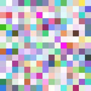 In this example we generate a 300x300px JPG file out of completely random colors. Each random pixel is 20x20 pixels in size.